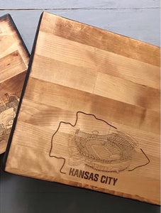 Arrowhead Stadium, Home of the Kansas City Chiefs, Butcher Block Cutting Board
