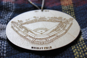 Wrigley Field, Home of the Chicago Cubs, Stipple Art Wood Ornament