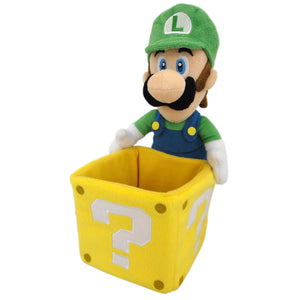 Little Buddy Super Mario Series Luigi Holding Coin Block Plush, 10""