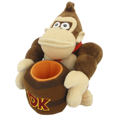 Little Buddy Super Mario Series Donkey Kong Holding Barrel Plush, 8