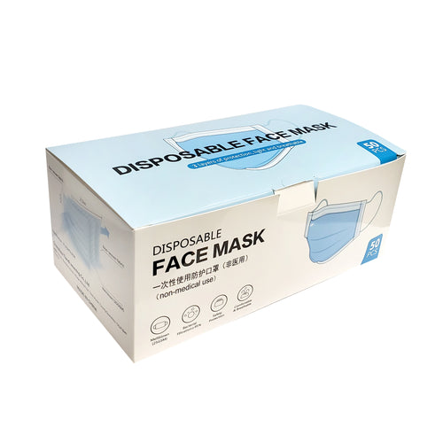 (Sold as Box of 50 PCS) Disposable Face Mask - 3 Layers Mask (Non-Medical Use)