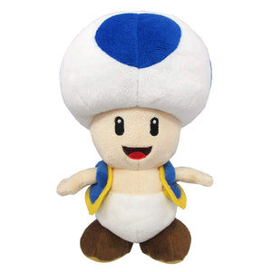 Sanei Super Mario All Star Collection AC31 Blue Toad Plush, 8""