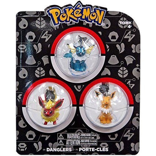 TOMY USA Pokemon Dangler 3 Pack Figure - Vaporeon, Flareon & Jolteon