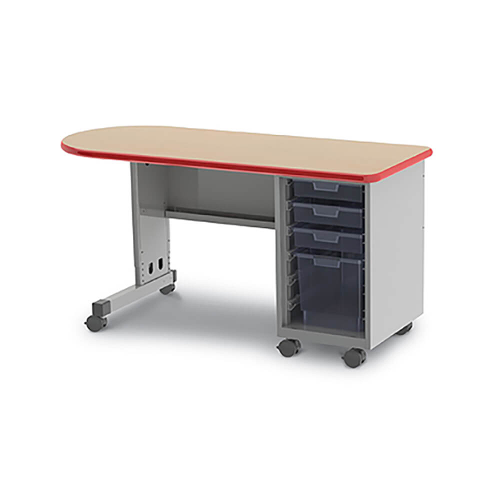 Cascade Teacher Desk – Single Pedestal, Single Bullet