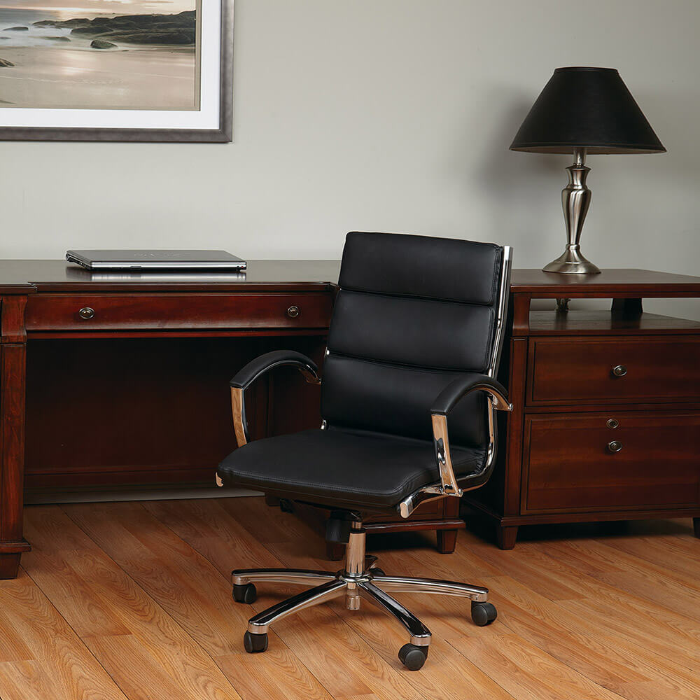Mid Back Executive Black Faux Leather Chair