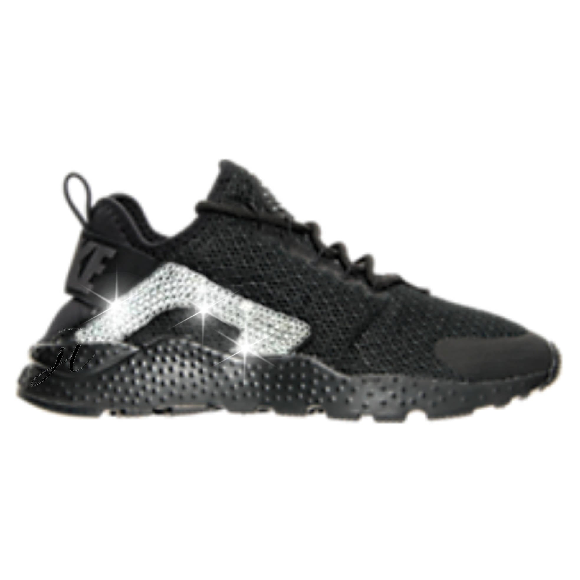... ireland black nike huarache customized with swarovski crystal 68838  b48e8 7c6ba3694