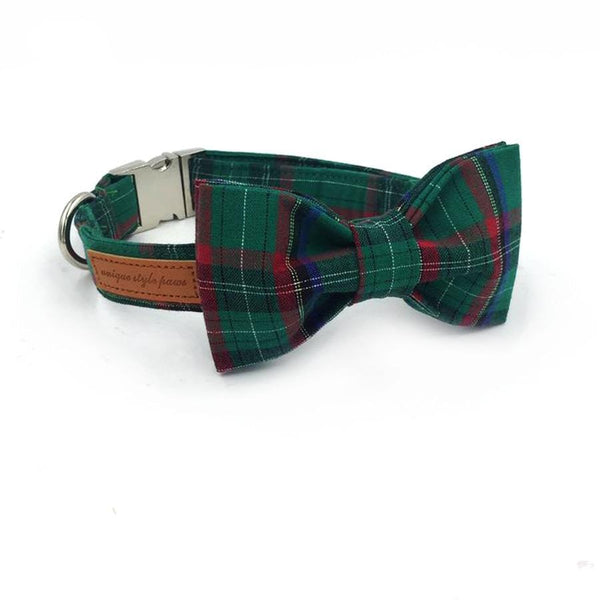 Dark Green Plaid Bow Tie and Collar