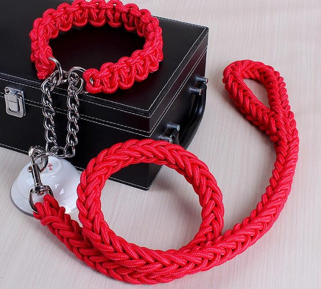 Solid Color Adjustable Collar Rope - Red