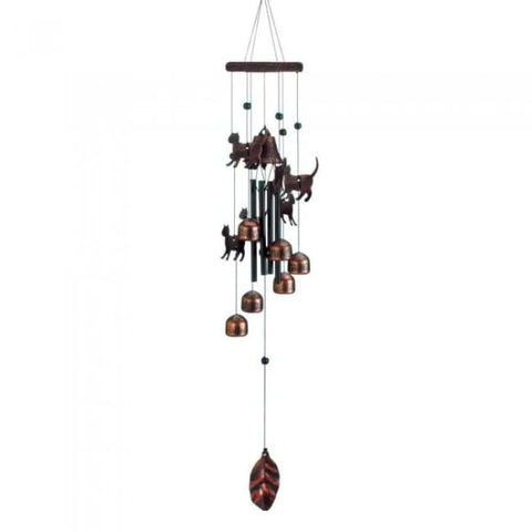 26 Bronze Cats Wind Chimes Patio; Lawn & Garden