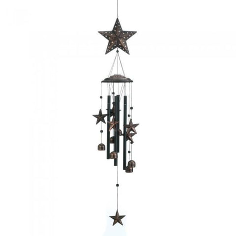 34 Bronze Stars Wind Chimes Patio; Lawn & Garden