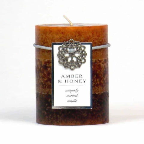 Amber & Honey Pillar Candle 3X4 Home Fragrances