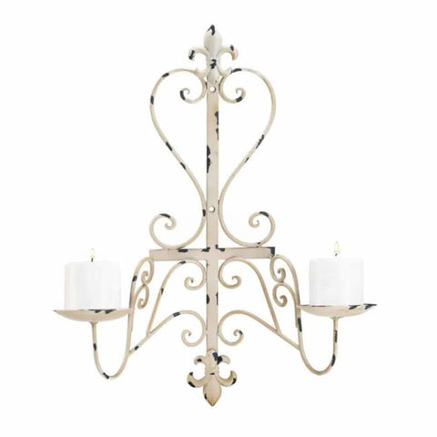Antiqued Fleur De Lis Candle Sconce Lighting