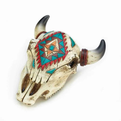 Aztec Ox Skull Trinket Box Living Room > Tabletop Decor