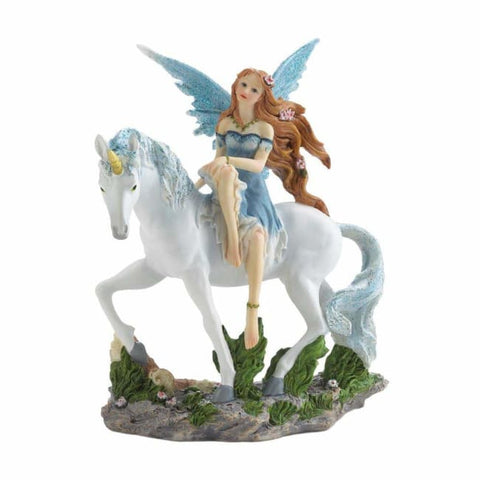 Blue Fairy And Unicorn Figurine Myth & Legend