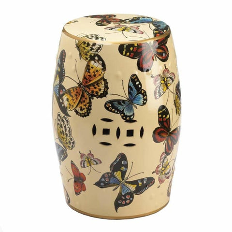 Butterflies In Flight Decorative Stool Living Room > Ottoman & Stools
