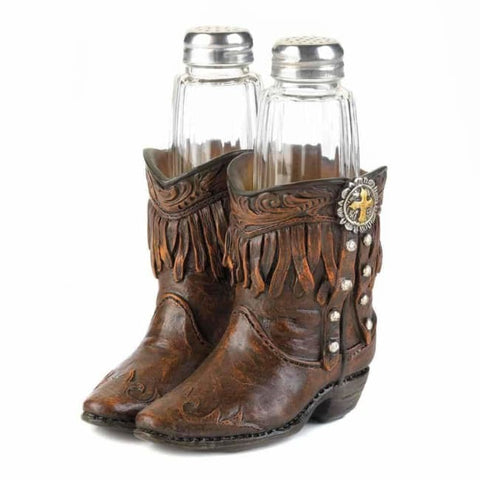Cowboy Boots S & P Shakers Holder Set Kitchen & Dining
