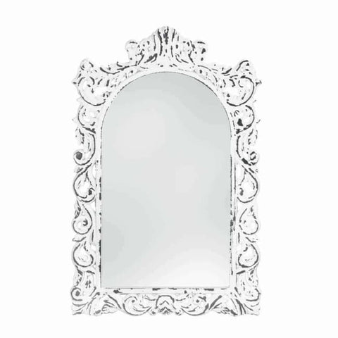 Distressed White Ornate Wall Mirror Accents > Mirrors