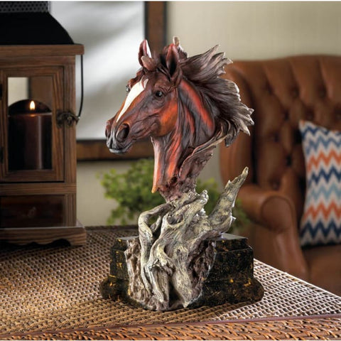 Driftwood Stallion Sculpture Living Room > Tabletop Decor