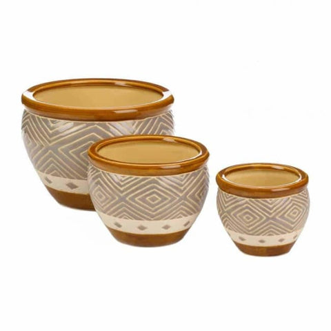 Earth-Tone Trim Planter Trio Outdoor > Gardening > Planters