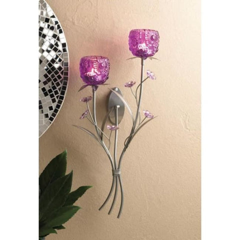 Fuchsia Blooms Wall Sconce Candleholder
