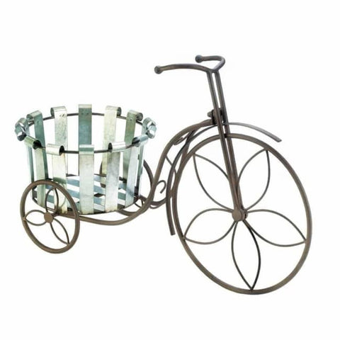 Galvanized Bucket Bike Plant Stand Outdoor > Gardening > Planters