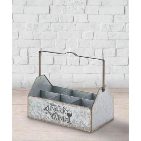 Galvanized Metal Wine Caddy Living Room > Tabletop Decor