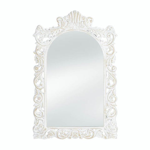 Grand Distressed White Wall Mirror Accents > Mirrors