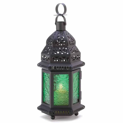 Green Glass Moroccan Lantern Candle Lantern