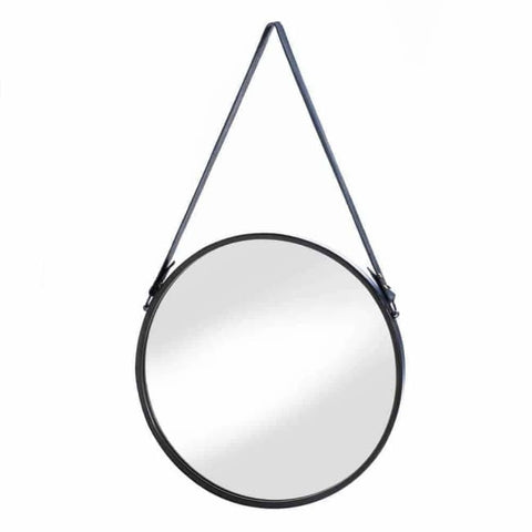Hanging Mirror With Faux Leather Strap Accents > Mirrors
