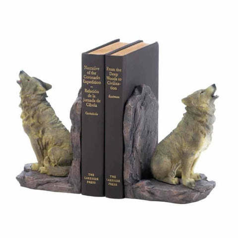 Howling Wolf Bookends Living Room > Tabletop Decor