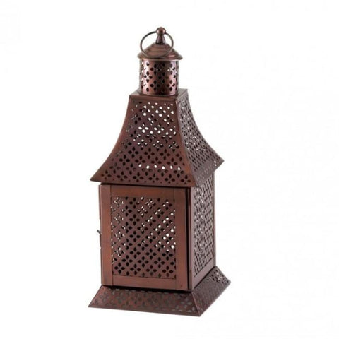 Labyrinth Pewter Lantern Candle Lantern