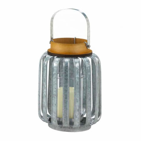 Large Galvanized Metal Lantern Candle Lantern
