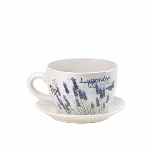 Lavender Fields Teacup Planter Outdoor > Gardening > Planters