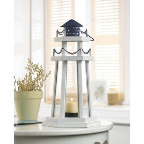 Lighthouse Point Wooden Lantern Candle Lantern