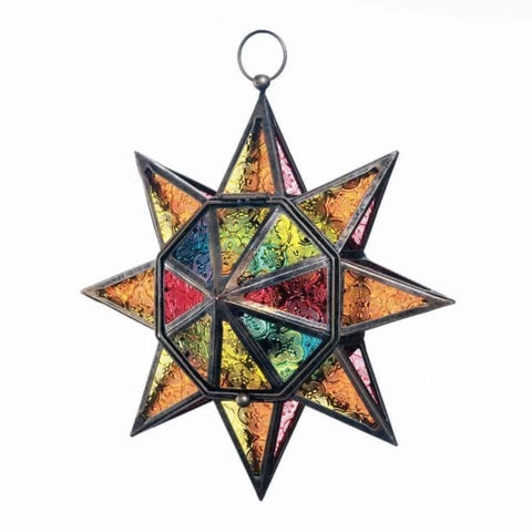 Multi Faceted Colorful Star Lantern Candle Lantern