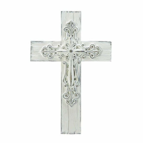 Ornate Whitewashed Cross Religious And Inspiration