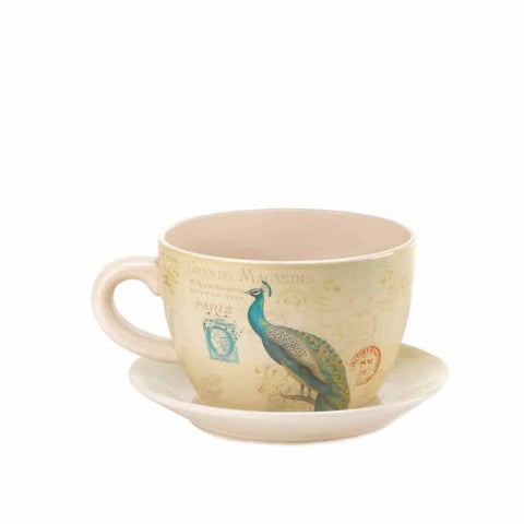 Peacock Teacup Planter Outdoor > Gardening > Planters