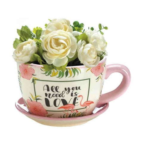 Pink Flamingo Teacup Planter Outdoor > Gardening > Planters
