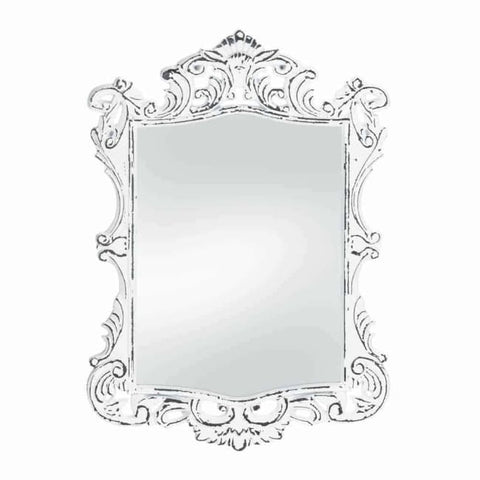Regal White Distressed Wall Mirror Accents > Mirrors