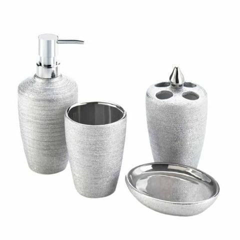 Silver Shimmer Bath Accessory Set Bed; Bath & Body