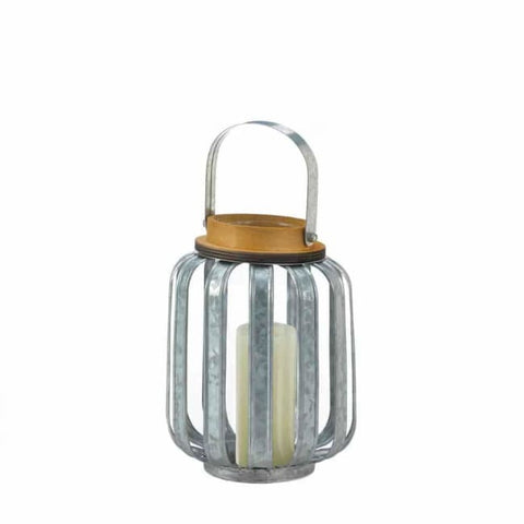 Small Galvanized Metal Lantern Candle Lantern