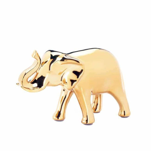 Small Golden Elephant Figure Living Room > Tabletop Decor