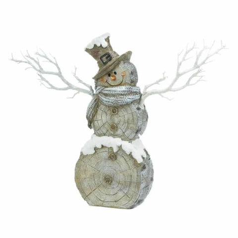 Snowman Statue With Twig Lights Christmas Catalog