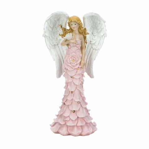 Solar Powered Pink Rose Angel Statue Solar Lighting