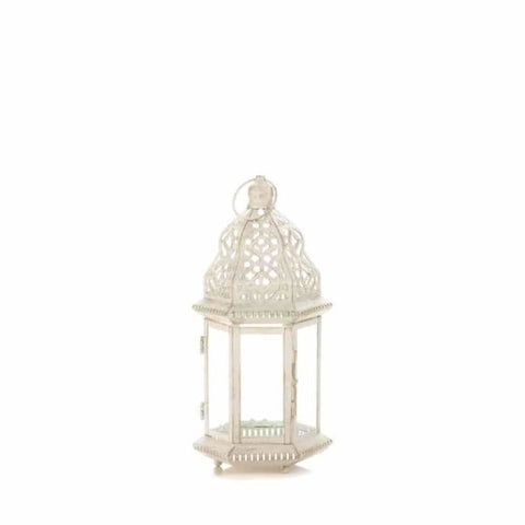 Sublime Distressed White Lantern Candle Lantern