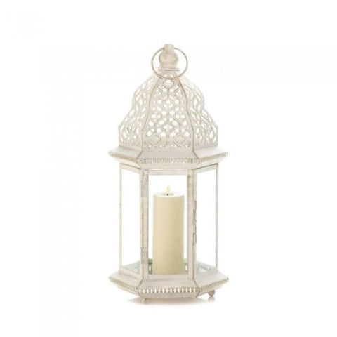 Sublime Distressed White Large Lantern Candle Lantern