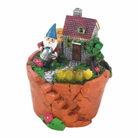 Terra Cotta Pot Gnome Solar Statue Solar Lighting