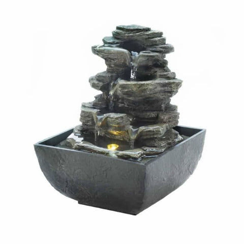 Tiered Rock Formation Tabletop Fountain Tabletop Fountain