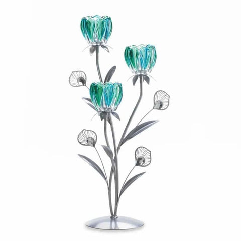 Triple Peacock Bloom Candleholder Candleholder