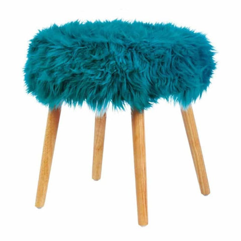 Turquoise Faux Fur Stool Living Room > Ottoman & Stools